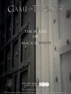 Game of Thrones saison 5 épisode 2 de la maison de l'affiche en noir et blanc