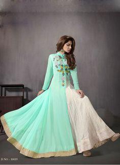 Kreckon New Sea-Green color Indo Western Style Anarkali Suit