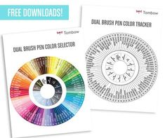 Free colour wheel for TomBow pens Tombow Dual Brush Pen, Best Brush Pens, Tombow Markers, Brush Markers, Tombow Usa, Alphabet, Polychromos, Brush Lettering, Copics