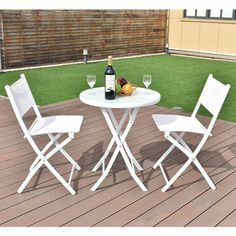 Garden Table, Patio Table, Backyard Patio, Garden Chairs, 3 Piece Patio Set, 3 Piece Bistro Set, Garden Furniture Sets, Outdoor Furniture Sets, Furniture Ideas