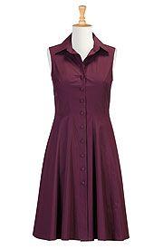 I <3 this Cotton poplin A-line shirtdress from eShakti