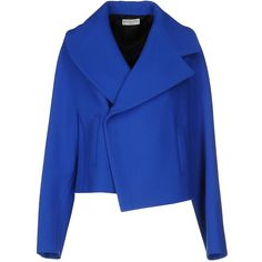 Balenciaga Blazer ($982) ❤ liked on Polyvore featuring outerwear, jackets, blazers, blazer, coats, dark blue, blue jackets, dark blue jacket, flannel blazer and long sleeve jacket