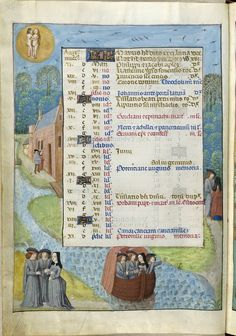 BL Additional 18851, f. 3v: calendar page for May. Gemini twins in the upper left of as a nude man and woman embracing. Courting couples on the lower portion of the image, and a boat ride on the river.
