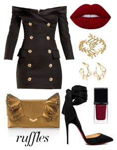 """""""Untitled #14"""" by beacraven ❤ liked on Polyvore featuring Balmain, LC Lauren Conrad, Christian Louboutin, Jimmy Choo, Arme De L'Amour, Givenchy, ruffles and RuffLyfe"""