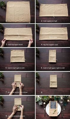 Sendt til dekoratøren. Ways To Fold A Napkin - Rustic Wedding Chic #DIYRusticWeddingprojects