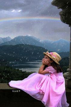 niña nieve arco iris gif