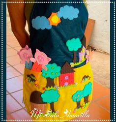 Diseños de delantales para narrar cuentos. Sewing For Kids, Diy For Kids, Cool Kids, Crafts For Kids, Infant Activities, Activities For Kids, Cute Aprons, Three Little Pigs, Finger Puppets
