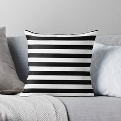"""""""Solid Black and White Large Horizontal Cabana Tent Stripe"""" Throw Pillow by podartist 