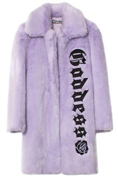 "HYEIN SEO + STYLE NAME Lavender faux fur coat with """"Goddess"""" embroidered on the left side. Made in Korea. Faux Fur: 100% Modacrylic; Lining: 48% Polyester; 52% Viscose Rayon. SIZE & FIT Oversized fit DESIGNER NAME Korean designer Hyein Seo is a graduate of Antwerp's prestigious Royal Academy of Fine Arts and VFILES Runway alumna whose masculine approach to womenswear heavily references punk and 70s cult films like Midnight Express, about a young American student who gets jailed in Turkey…"