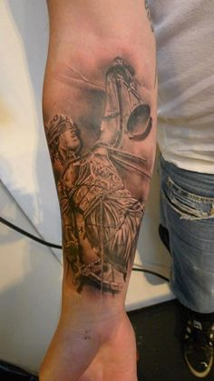 Blind Justice Lady Tattoo On Forearm