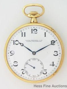 Antique Patek Philippe 3x Signed 18k Gold Large Open Face Mens Pocket Watch #PatekPhilippe