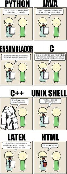 Para todos aquellos que nos dedicamos a la programada esta viñeta es estupenda... mis favoritas son la de Java, C, Unix Shell -me la partí c...