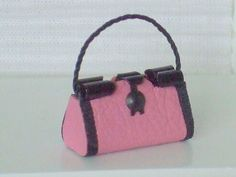 Dollhouse Miniature Pink Leather Purse or by WhimsyCottageMinis