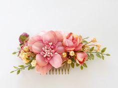 Peineta con flores / Flowers comb - hecho a mano en DaWanda.es