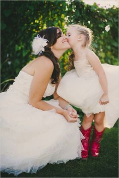 flower girl in red cowgirl boots