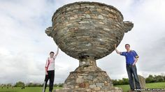 Antony Barrettes' sons Peter and Anthony jnr with the Sam Maguire made from stone Turn To Stone, Donegal, Ireland, Sea Food, Poultry, Artwork, Sons, Meat