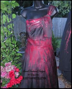 Zombie Dress Vampire Dress DIA de LOS MUERTOS Dress Hand Painted Bloody Black Dress Halloween Size 12 Devil Dress by ZombieBrideUSA by ZombieBrideUSA on Etsy