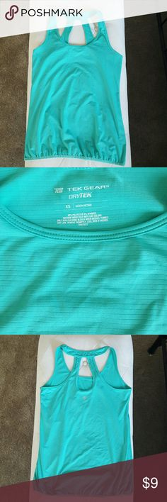 Tek Gear gym tank Mint green. Subtle horizontal ribbing. Loose fit with banded hem to hide the muffin top removal in progress. Cute keyhole opening in bag. Barely noticeable snags (pic 4) back right...sustained while folded in a drawer!? I only wore it once or twice! Moisture-wicking, 92% polyester/8% spandex. Machine wash. Sized XS but runs large, would fit a small. Tek Gear Tops Tank Tops