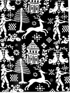 Detail vzoru z tkaniny na perinové povlaky. Veľká pri Poprade (okr. Poprad), 1950. Prevzaté z Vydra, J.: Ľudová modrotlač na Slovensku. Bratislava 1954, obr. 64