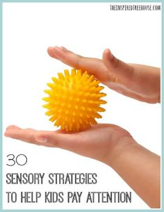 30 Sensory Strategies to Help Kids Pay Attention - Some children who experience difficulty with paying attention may need less sensory input because they become distracted or overwhelmed by certain sensory experiences. However, many children are better ab Sensory Diet, Sensory Issues, Therapy Activities, Activities For Kids, Adhd Strategies, Teaching Strategies, Autism Sensory, Sensory Toys, Sensory Activities