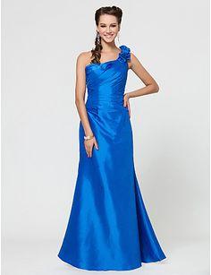 A-line One Shoulder Floor-length Taffeta Bridesmaid Dress With Flower(s) - USD $ 99.99