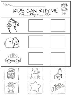 Rhyming in Kindergarten Printables and Center Activities