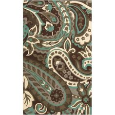 2' x 3' Paisley Splash Chocolate Brown, Aqua Blue and Gray Hand Hooked Outdoor Area Throw Rug - Walmart.com