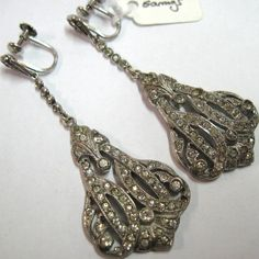 Art Deco Silver & Paste Drop Earrings With Screw Fitting Art Deco Wedding Rings, Antique Shops, Drop Earrings, Antiques, Silver, Shopping, Antiquities, Antique Stores, Antique