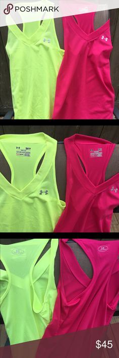 UA RAZOR TANK BUNDLE Worn handful of times. No longer workout. Like new condition. No holes or stains. No use for them. Beautiful colors. Very comfortable. Under Armour Tops Tank Tops