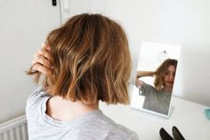 messy, lived-in bob tips--sea salt spray on roots when wet. sprinkle texture powder onto hands and then work it into hair to avoid buildup at the roots