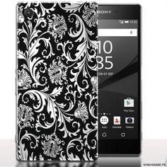 Coque Floral Noir Telephone Sony Xperia Z5. #Z5 #Black #Flowers #SonyXperia #Telephone