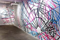 Marius Watz | Wall Exploder B, 2011. Wall drawing made with software projection and artist tape.