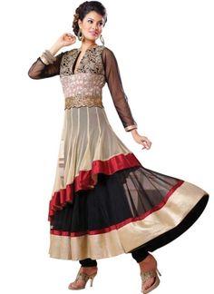 Beige Black Embroidery Work Multilayer Net Anarkali Fancy Suit http://www.angelnx.com/Salwar-Kameez/Anarkali-Suits