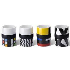 Mondrian inspired Thermo Mugs by Frank Kerdill. Designs (l-r) 'Lattice Ring', 'Illusion Ring', 'Mondri' and 'Nest Ring'.  I have Mondri, so beautiful X)