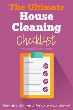PRINTABLE cleaning list | deep | printable | for kids | daily | husband | by room | weekly | for house | detailed  | whole house