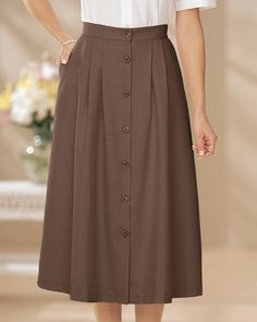 Swann High Waisted Button Front Brown Skirt with Pockets @Lisa Sheffield It's only $20.95