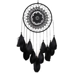 Handmade Black Dreamcatcher ($100) ❤ liked on Polyvore featuring home, home decor, dream catcher home decor, black home accessories, black home decor, handcrafted home decor and handmade home decor
