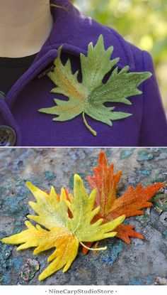 Handmade felted fall leaves brooches at NineCarpStudioStore #brooch #handmade #women's_gift