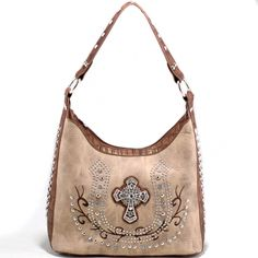 Elegant Studded shoulder bag with rhinestone cross accent - Beige/Coffee