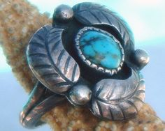 Vintage Native American Sterling Turquoise Ring Leaf Signed  $56.95 via Starfisher