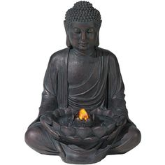 Universal Lighting and Decor Meditating Aged Bronze Buddha LED... (€89) ❤ liked on Polyvore featuring home, outdoors, outdoor decor, fillers, decor, budda, candles, fountains, brown and fountain