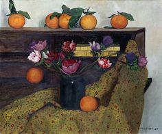 Félix Vallotton (1865-1925)  Anemones And Oranges 1924 Maurice Denis, Kitsch, Lausanne, Global Art, Cool Posters, Botanical Art, Orange, Framed Artwork, Vintage Artwork