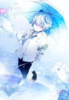 Anime picture 767x1123 with  original yukimachi single tall image short hair purple eyes white hair looking away standing aqua eyes from above heterochromia blue crying male plant (plants) animal umbrella cat leaf (leaves)