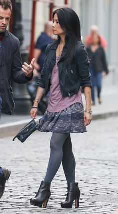 Watson from Elementary - love her look in the tv show - Lucy Liu ankle boots, tights, skirt, t-chirt, jacket - Get The Look: http://skyliving.sky.com/elementary/elementary-doctor-watson-get-the-look