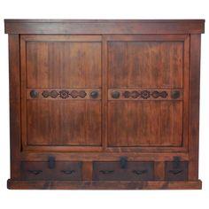 Large 19th Century Japanese Tansu Storage Chest with Sliding Doors