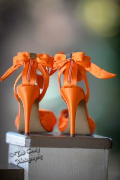 Beautiful orange high heels for a wedding in Maui.  Photo by Tad Craig Photography