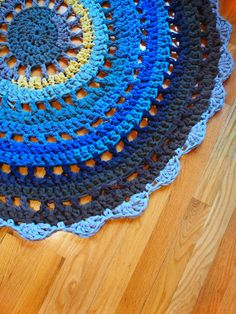 Round Doily Rug Crocheted from Upcycled Cotton Yarn by westervin (that's me!)