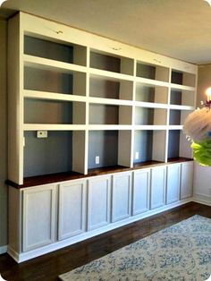 DIY built ins with bases-great project turning dining room into library