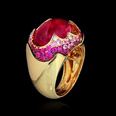 Yellow gold 750, Pink tourmaline 7,83 ct., Diamonds, Pink sapphires