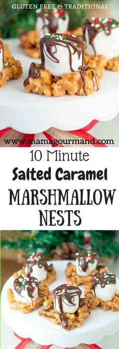 Salted Caramel Marshmallow Nests are a quick, easy holiday treat. They can be adapted for gluten free and are perfect for holiday baking with kids! #holidaybaking #saltedcaramel #glutenfreechristmas #saltysweet www.mamagourmand.com via MamaGourmand